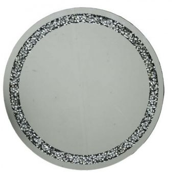 Crushed diamond round wall mirror