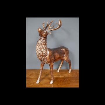 Unique Rustic Style Stag Ornament, Antique Style Bronze Stag