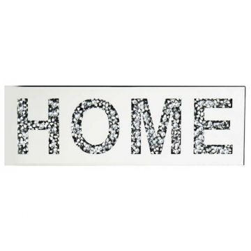 Diamond crush mirror HOME sign, HOME glitz sparkle wall plaque