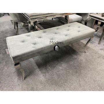 Stunning luxury grey velvet Louis dining bench 130cm wide, grey dining bench