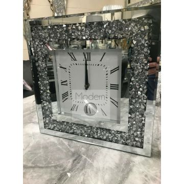 Crushed Crystal Wall Clock, Mirrored Glitz Wall Clock