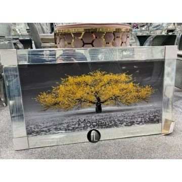 Stunning yellow blossom tree 3D glitter art picture mirror frame