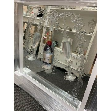 Moet Champagne and flutes 3D glitter art mirrored picture