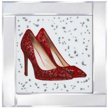 Red High Heel Shoe picture, Mirrored Frame with Red High Heels, 3D Glitter Art
