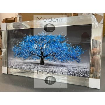 Stunning Blue blossom tree 3D glitter art picture in mirrored frame