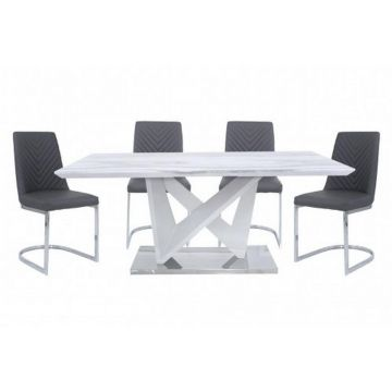 White Marble Effect Dining Table and 4 Grey Chairs