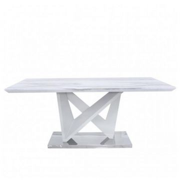 White Marble Effect Dining Table - Table Only