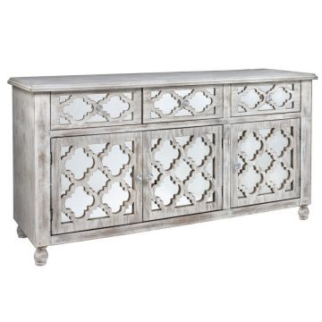 Antique style washed wood low sideboard with mirrored drawers