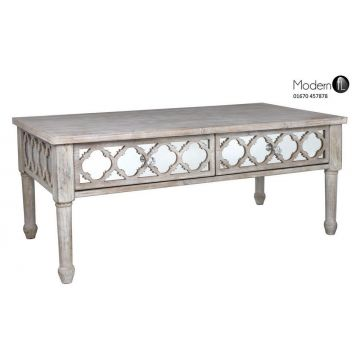Antique style wood coffee table with mirrored front, wood and mirror table