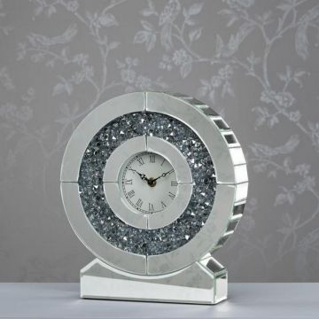 Mirror and Crystal Round Table Clock