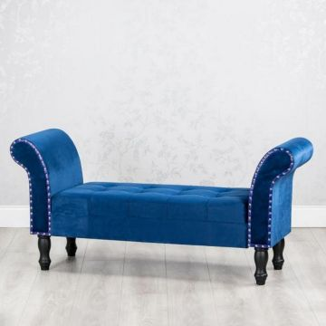 Blue Velvet Storage Bench with Black Legs and Stud Detail