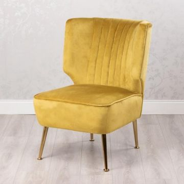 Mustard Velvet Occasion Chair with Gold Legs