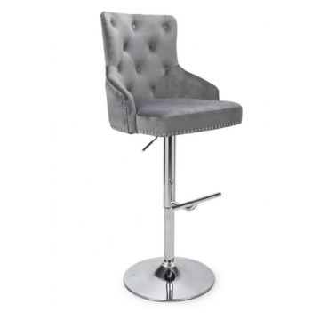 Brushed Velvet Grey Bar Stool