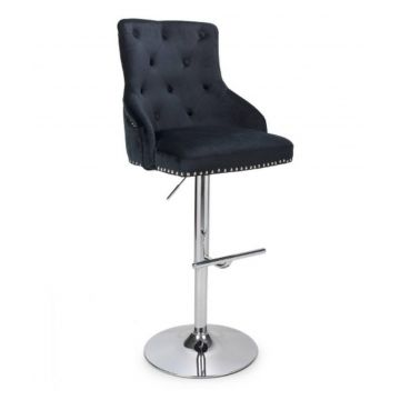 Brushed Velvet Black Bar Stool