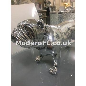 Small Silver Resin Bulldog with Collar Ornament