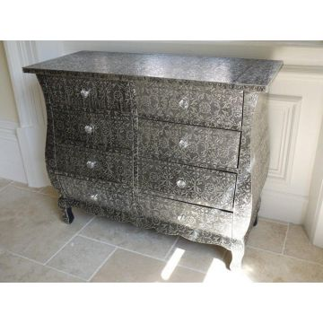Black embossed chest of 6 drawers