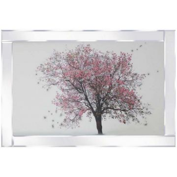 Pink Blossom Tree Picture in mirrored frame