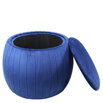 Blue Velvet Storage Stool with Pleated Edge