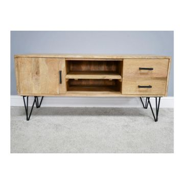 Industrial Style Mango Wood TV and Media Unit, Wooden TV Cabinet With Metal Legs