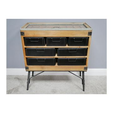 Industrial Style Metal and Wood Retro Cabinet, Metal And Wood Filing Cabinet
