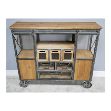 Industrial Style Cabinet, Metal And Wood Cabinet
