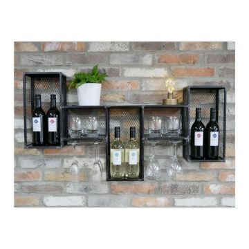 Metal Industrial Wall Unit, Wine Wall Cabinet