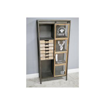 Industrial style wooden cabinet, tall storage unit, wood and metal cabinet