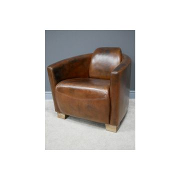 Rustic Leather Cigar chair with wood feet, occasional brown leather chair