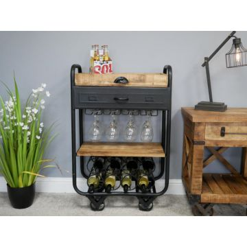Industrial Style Metal And Wood Wine Trolley with Functional Pull Out Drawer