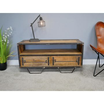 Industrial Style TV Cabinet, Rustic Style Metal And Wood With Two Drawers