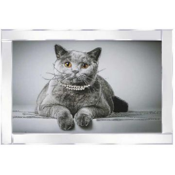 Cat with Diamante Collar 3D Picture with Mirrored Frame