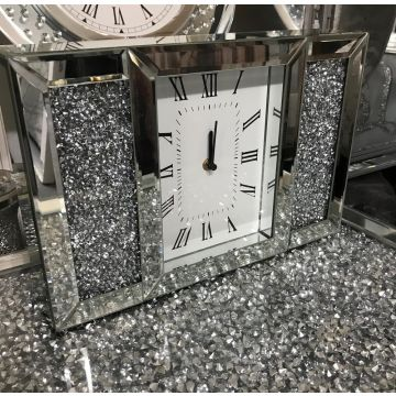Mirrored and crushed crystal mantel clock