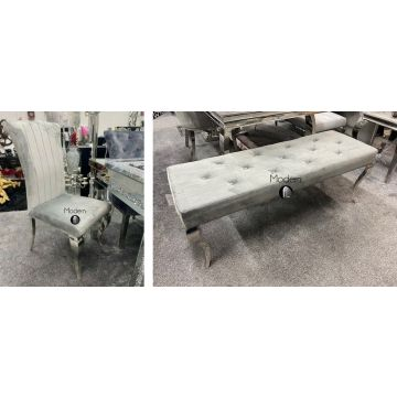 x4 Louis style grey dining chairs & one luxury grey velvet 130cm wide bench