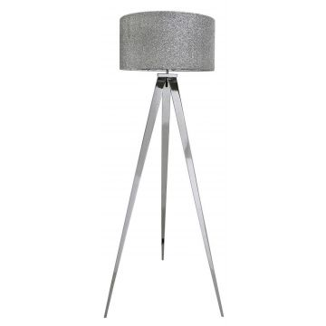 Chrome tripod floor lamp with glitter shade