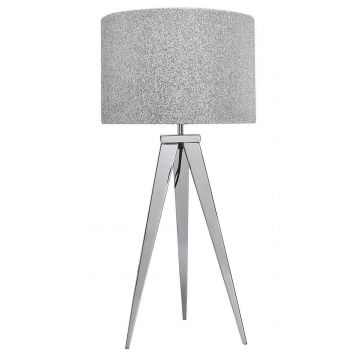 Chrome tripod table lamp with glitter sparkle shade
