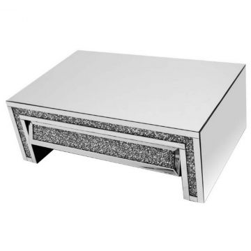 Crushed Diamond Mirror Coffee Table with Angled Crushed Crystal Drawer
