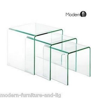 Contemporary curved clear glass nest of 3 tables, clear glass tables