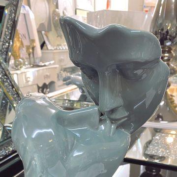 Contemporary grey ceramic loving couple, grey lovers ornament