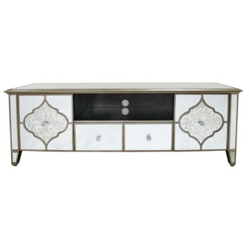 Contemporary large mirrored tv stand with ornate gold design