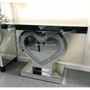 Crushed crystal love heart console table