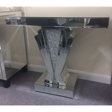 Crushed crystal v console with mirrored trim