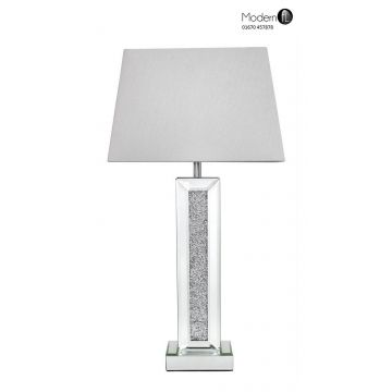 Crushed diamond and mirrored table lamp