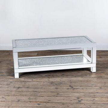 Crushed diamond coffee table with diamond lower shelf