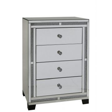 Crushed diamond mirrored chest of 4 drawers