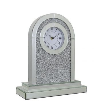 Crushed diamond mirrored mantel clock