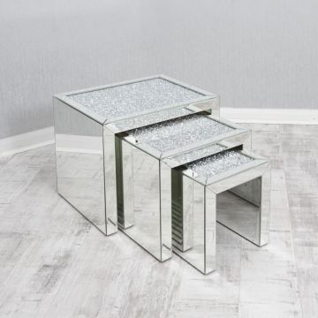 Crushed diamond nest of 3 tables