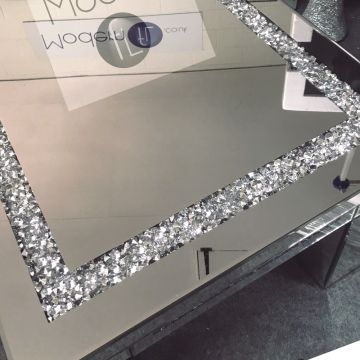 Crushed diamond rectangle mirrored coffee table, sparkle glitz coffee table
