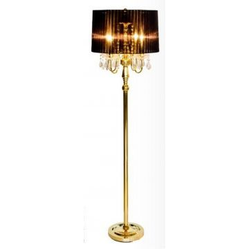Crystal droplet gold floor lamp black shade, crystal pendant gold floor lamp