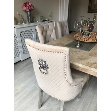 4 x Luxury Mink Velvet Dining Chairs with Chrome Lion Head Door Knocker and Legs