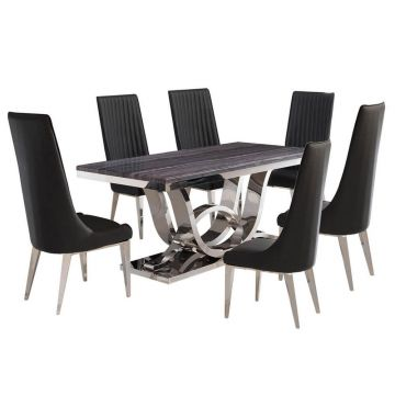 Grey marble and chrome premium dining table with 6 tall back chairs